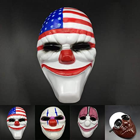 Amazon.com: Genric PVC Scary Clown Mask Payday 2 Halloween Mask for Antifaz Party Mascara: Toys & Games