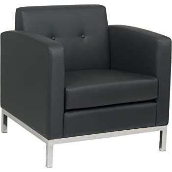 Avenue Six AVE SIX Wall Street Faux Leather Armchair With Chrome Finish  Base, Black
