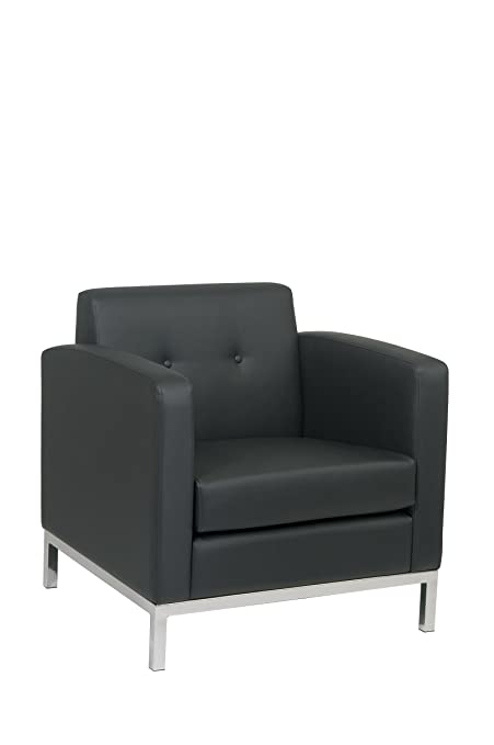 Merveilleux Avenue Six AVE SIX Wall Street Faux Leather Armchair With Chrome Finish  Base, Black