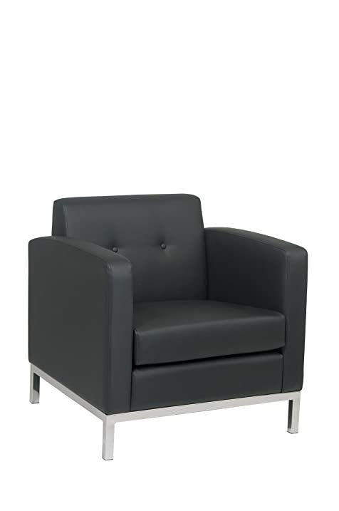 Avenue Six Wall Street Faux Leather Armchair With Chrome Finish Base, Black