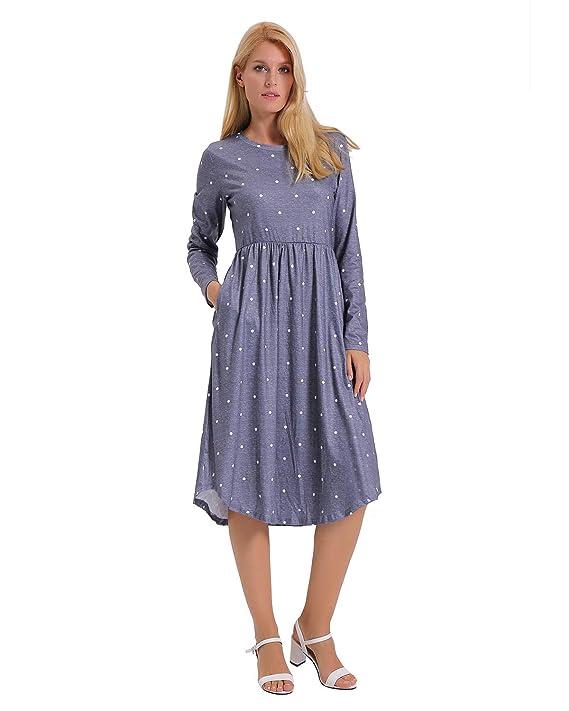 ENIDMIL Women Polka Dot Long Sleeve Pleated Casual Dress with Pockets, Women Tunic Loose Swing Casual Midi Dress (Grey, M)