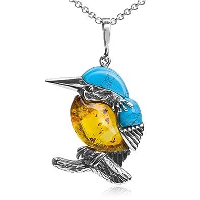 Multicolor Amber Sterling Silver Bullfinch Bird Pendant Necklace Chain 46 cm 92qw3mJ