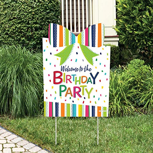Big Dot of Happiness Cheerful Happy Birthday - Party Decorations - Colorful Birthday Party Welcome Yard Sign