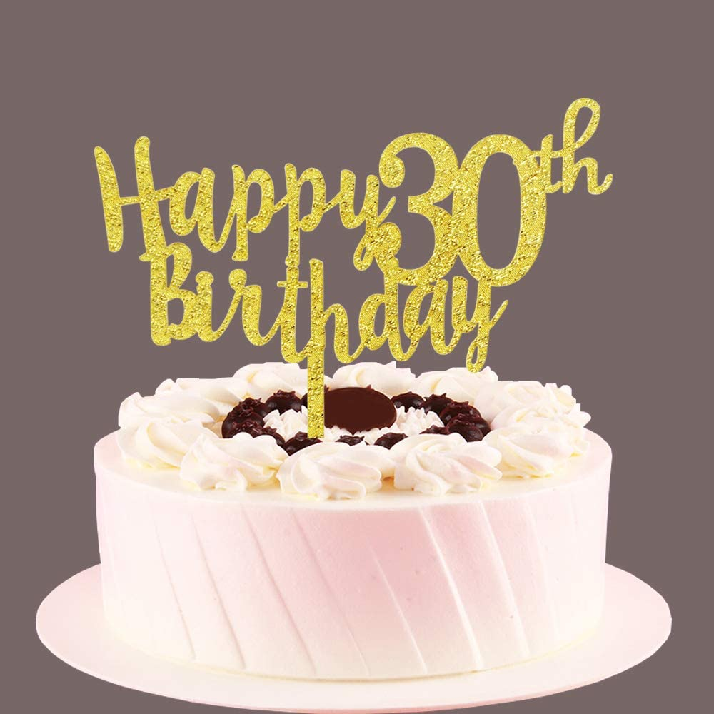Tremendous Amazon Com Happy 30Th Birthday Cake Topper Gold 30 Years Old Funny Birthday Cards Online Elaedamsfinfo