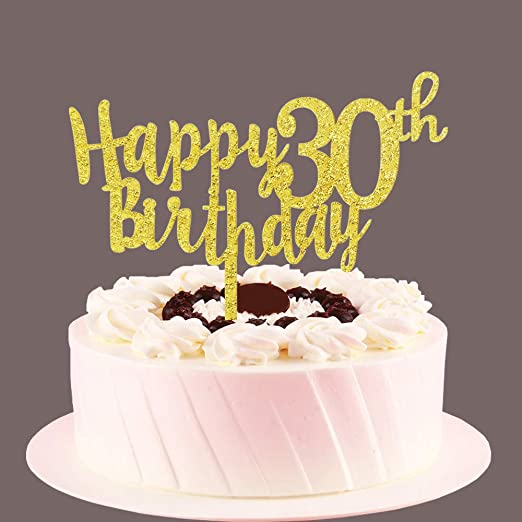 Admirable Amazon Com Happy 30Th Birthday Cake Topper Gold 30 Years Old Birthday Cards Printable Opercafe Filternl