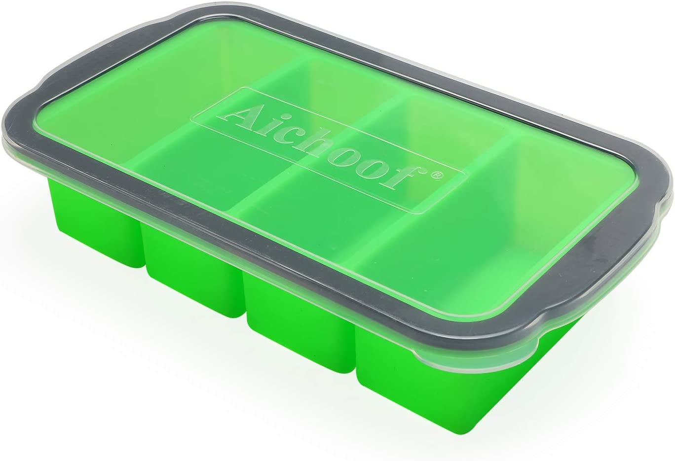 1-Cup Extra Large Freezing Tray for soup,broth,sauce or butter ,Ice Cube Trays with lid, Silicone Freezer Container Molds Soup Trays -makes four great portions 1cup Cube-1 pack(Patricks Day Green)
