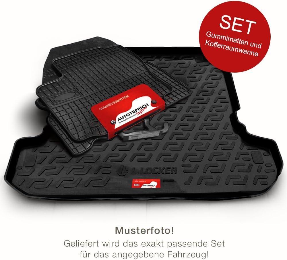 Kombi Automatten Gummi Fußmatten Kofferraumwanne Set für Skoda Superb 2 II 2009