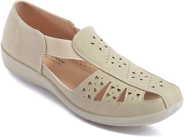 Ladies Womens Shoe Wide Fit Slip On