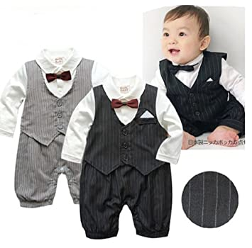 5dd9215927a8 Image Unavailable. Image not available for. Color  Baby Boy Wedding Long  Sleeve Tuxedo Striped Romper Onesie Outfit