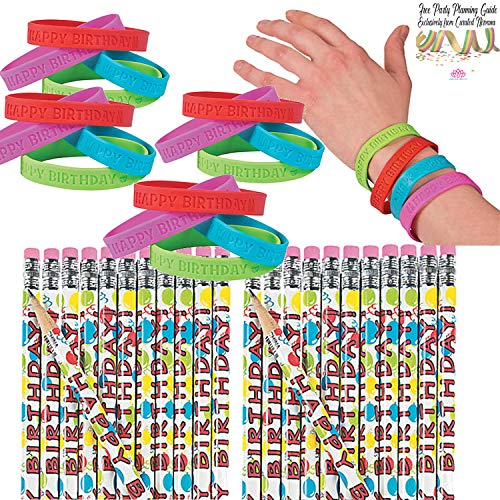 Happy Birthday Favor Bundle for Kids (48 Pieces) | Happy Birthday Wooden Pencils and Assorted Color RubberHappy Birthday Bracelets | Party Favors, Classroom Goodies, Teacher Supplies ()