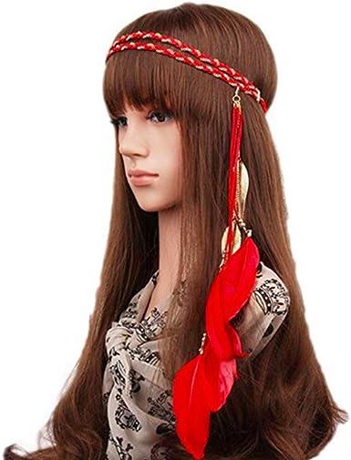 Feather Leaf tassles Headband Hairband Brown Coffee Boho Hippie Party Festival