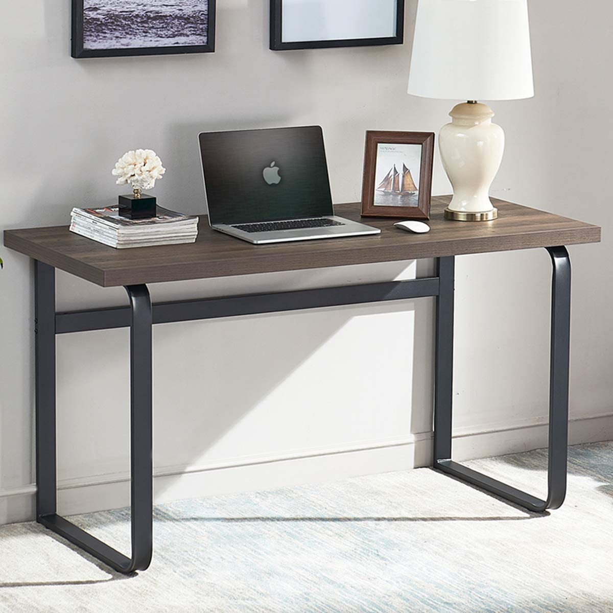 SHOCOKO Computer Desk, Industrial Wood and Metal Writing Desk, Rustic Study Table for Home Office, 55 inch