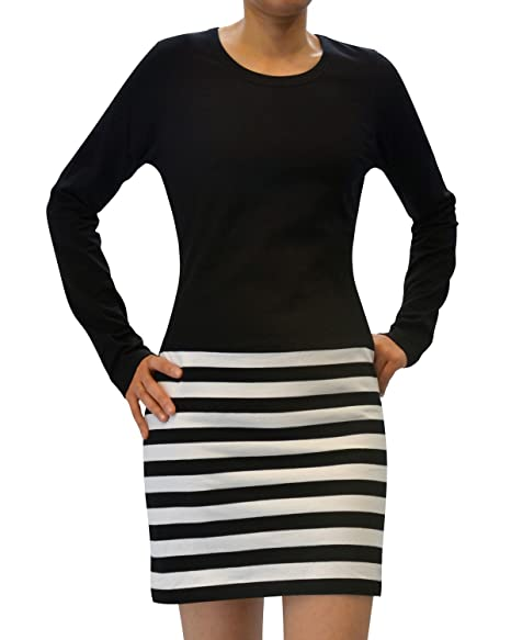 beda696efd Image Unavailable. Image not available for. Color: Womens Black and White  Striped Fitted Long Sleeve Dress ...