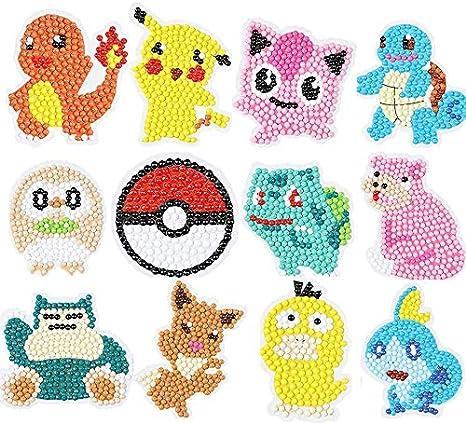 Pikachu Diamond Art Mosaic Stickers by Numbers Kits 12 Pcs YINEW Diamond Painting-DIY 5D Diamond Painting Kits for Adults and Beginners