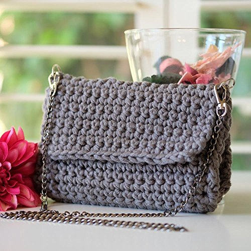 Handmade SMALL Dark Gray Crochet Clutch ()