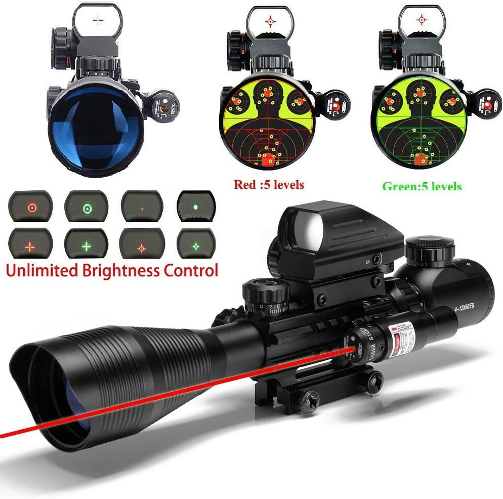 UUQ 4-12X50 Rifle Scope Dual Illuminated Reticle W Green RED Laser Sight and 4 Tactical Holographic Dot Reflex Sight 12 Month Warranty 4-12X50 Red Laser