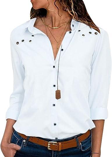 Camisa de Gasa Mujer Blusas Oficina Escote V Blusa Manga Larga Camisas Señora Top Camiseras Elegantes Camisetas Cuello V Lisas Blusones Blusa Vestir Formales Fiesta Largas Primavera Verano: Amazon.es: Ropa y accesorios