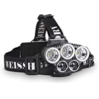 WEISSHORN 50000LM LED Headlight Headlamp 6 Modes Rechargeable Head Torch Waterproof For Hiking Camping Riding Bike Outdoor – Black