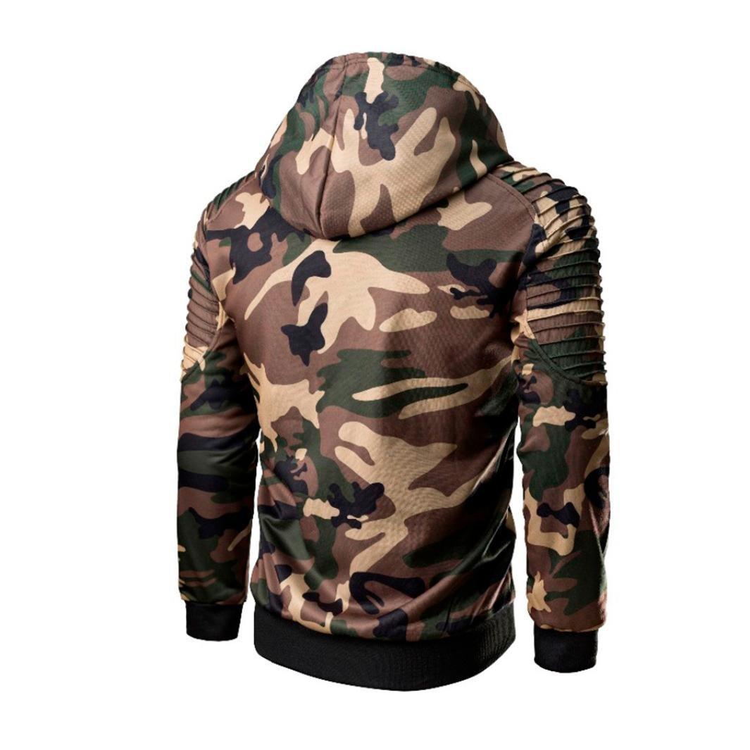 Camisa Hombre,ZARLLE Blusa Superior de Manga Larga con Capucha de Manga Larga de Remiendo del Camuflaje Militar Ocasional de Hombres Moda Personalidad ...