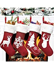 """LOMOHOO Pack 4 Christmas Stockings 18"""" Large Christmas Knitted Stockings Xmas Rustic Christmas Decorations for Fireplace Xmas Party Holiday"""