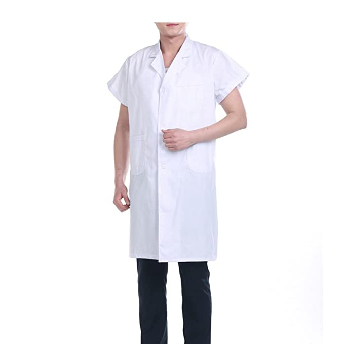 Sasairy Hombre Bata Médico de Spandex de Manga Corta Bata Blanca Bata de Laboratorio Enfermera para Médicos Enfermera Dentista Científico, ...