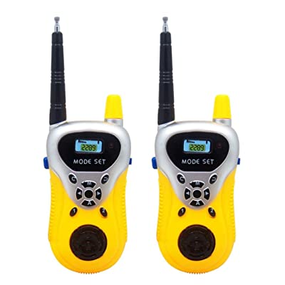 Livoty 2Pcs Wireless Walkie Talkie Kids Electronic Toys Portable Two-Way Radio (Yellow): Sports & Outdoors