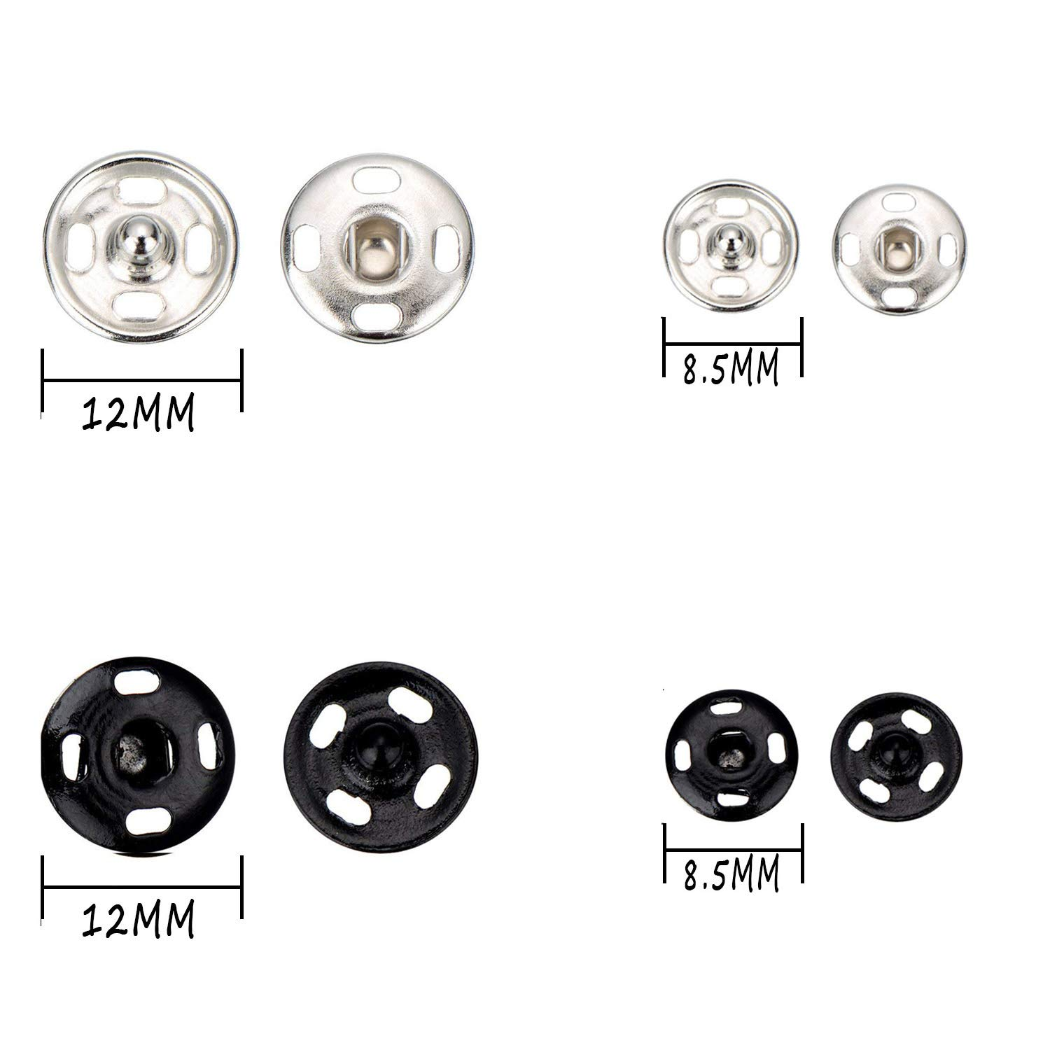 TommoT 100 Sets Sew-on Snap Buttons Metal Snaps Fasteners Press Studs Buttons for Sewing 12 mm and 8.5 mm,Black and Silver-25 Set for Each Color Each Size