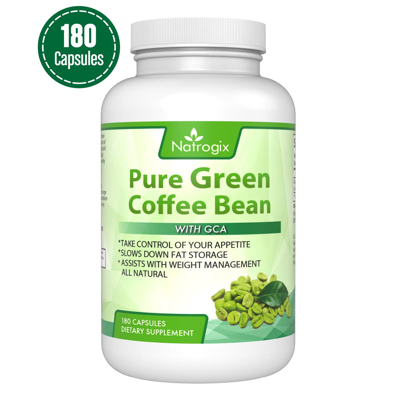 Natrogix 800mg Green Coffee Bean Extract - Pure Natural GCA (Standardized to 50% Chlorogenic Acids) Supplement, Appetite Suppressant to Lose Weight. Energy Booster,180 Capsules/Made in USA