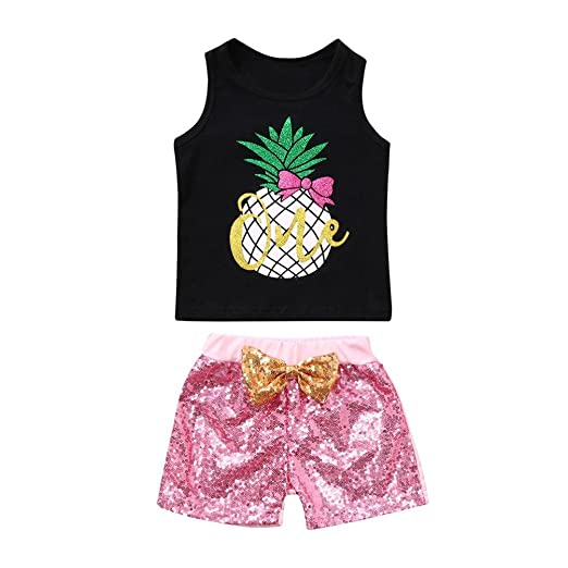 d08cb99d8b7e Amazon.com  WARMSHOP 2 PC Girls Summer Casual Clothes Set Sleeveless  Pineapple Print Tops Vest+Bowknot Sequins Shorts Outfit  Clothing