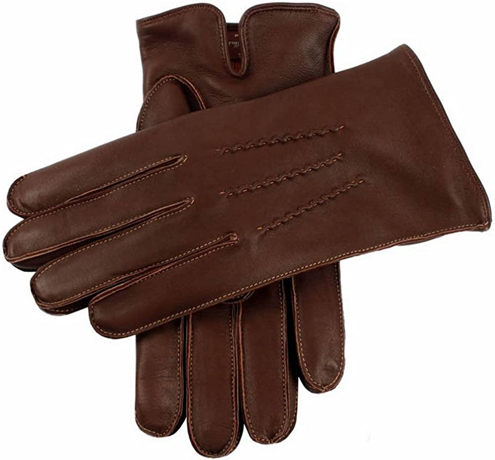 Dents Mens Clyne Cashmere Lined Hairsheep Leather Gloves English Tan//Tangerine
