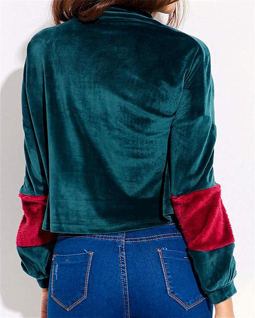 Cromoncent Womens Autumn Winter Turtle-Neck Contrast Color Long Sleeve Cropped Tops Vogue Sweatshirts