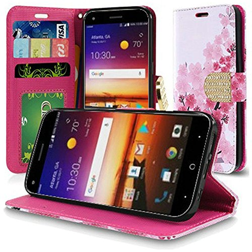 PU Leather Flip Wallet Case Cover w/Card Storage and Strap for ZTE Blade X Z965 Phone (Cherry - Cherry Faceplates