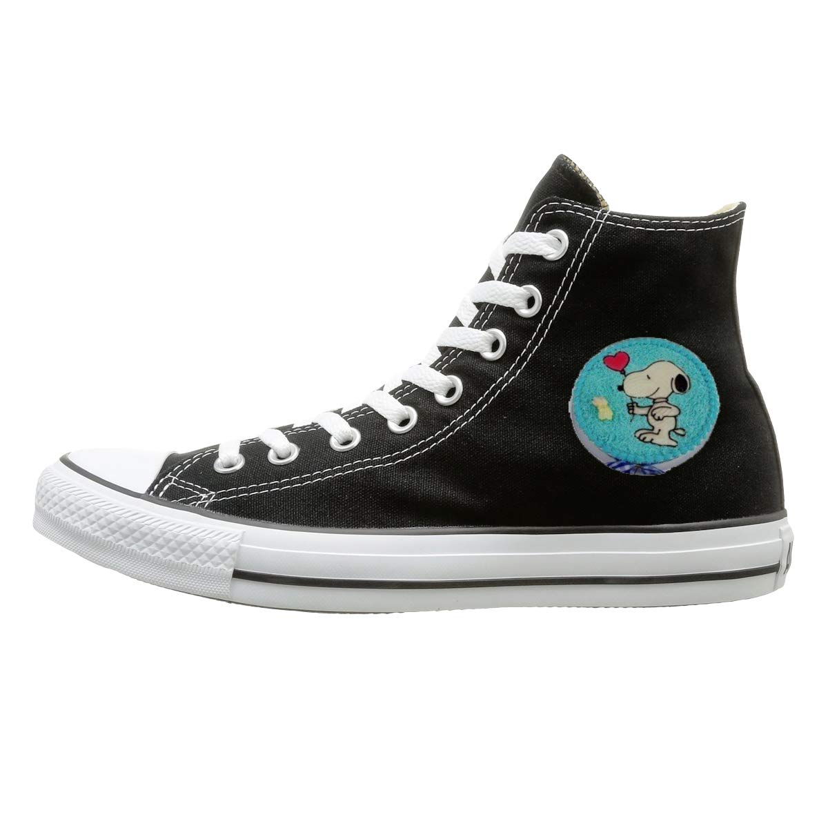 Sakanpo Blue Snoopy Canvas Shoes High Top Casual Black Sneakers Unisex Style