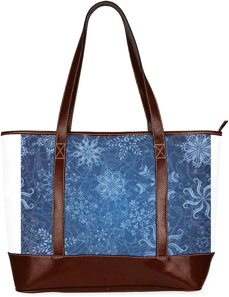 Tote Bags Snowflakes Seamless Christmas Background Vector Travel Totes Bag Fashion Handbags Shopping Zippered Tote For Women Waterproof Handbag