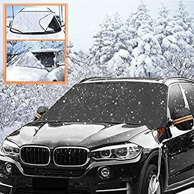 """Magnetic Edges Windshield Snow Cover, Car Snow Ice Cover with Side Mirror Covers, Waterproof Windshield Protector, Frost/Snow/Ice/Rain/Sun Full Protection - Fits Most Car, SUV, Truck (85""""x 50"""", Black)"""