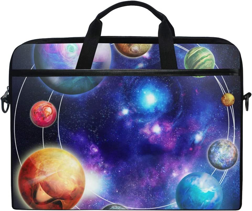 AKIOG Laptop Bag Case 15 Inch Cosmic Planet Galaxy Space Briefcase Shoulder Bag Carrying Case Computer Bag Durable Tablet Handbag Sleeve with Strap for Women Men
