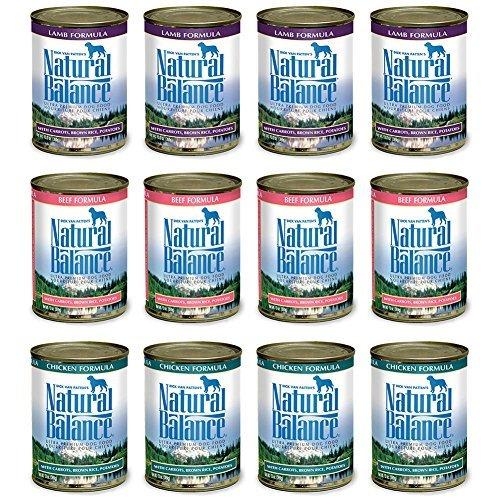 Natural Balance LID Dog Food Variety Pack 13 oz Cans: (4) Lamb Formula, (4) Beef Formula, (4) Chicken Formula (4 (12 Pack Bundle) (Formula Natural Balance Beef)