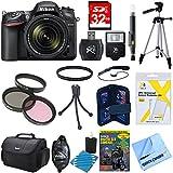 Nikon D7200 DX-format Digital SLR Camera Bundle w/ 18-140mm lens, cleaning kit, gadget bag, 32GB memory card, 57 tripod, mini tripod 67mm filter kit, universal manual flash & more