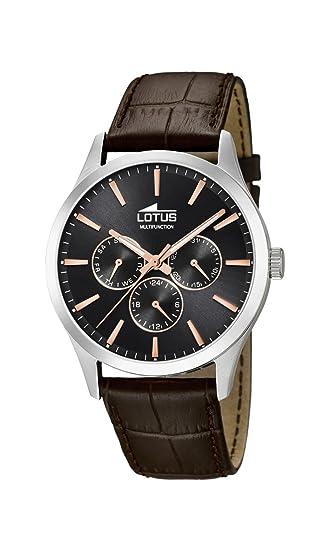 Lotus Watches Reloj Multiesfera para Hombre de Cuarzo con Correa en Cuero 18576/7: Amazon.es: Relojes