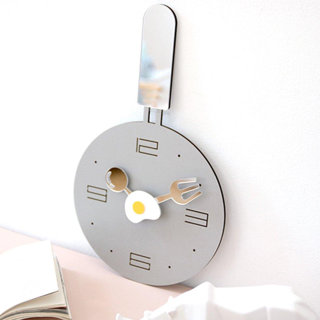 家庭用クリエイティブ時計現代シンプルミュート壁時計リビングルーム性格漫画目覚まし時計,Gray B07FQCQGTNGray