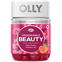 OLLY Undeniable Beauty Gummy, 30 Day Supply (60 Gummies), Grapefruit Glam, Biotin, Vitamin C, Keratin, For Hair, Skin, Nails, Chewable Supplement