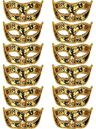Mtlee 12 Pieces Half Mardi Gras Masquerade Mask Venetian Masks Set for Carnival Prom Ball Fancy Dress Party Supplies (Black)