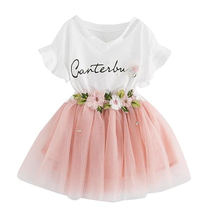 Ropa Bebe niña Absolute Camiseta con Estampado de Letras para niñas + Conjunto de Falda de