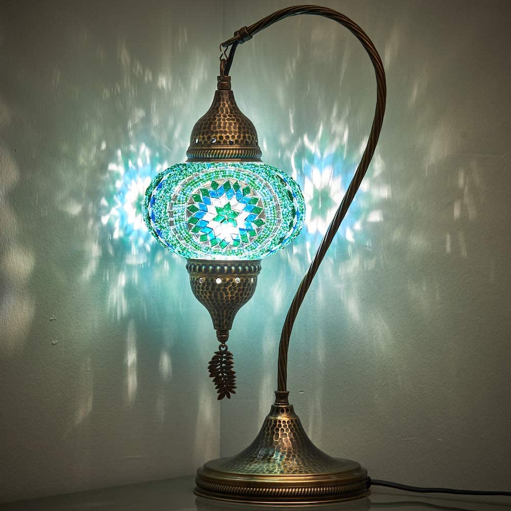 DEMMEX Handmade Turkish Moroccan Colorful Mosaic Glass Antique Table Bedside Lamp Lampshade, 18.8
