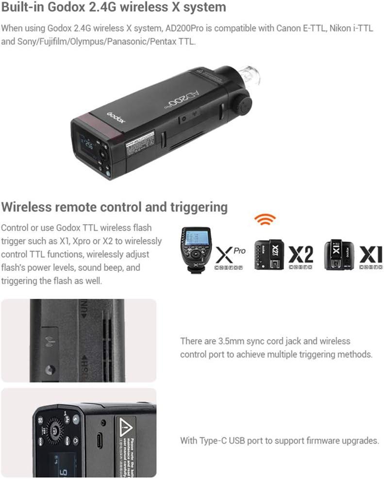 GODOX AD200Pro Pocket Flash Portable Wireless TTL Flash for Nikon Sony Fujifilm Olympus Panasonic Pentax Canon EOS Cameras