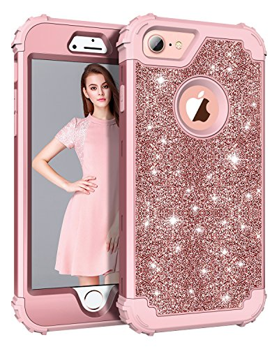 iPhone 8 Case, Lontect Luxury Glitter Sparkle Bling Heavy Duty Hybrid Sturdy Armor Defender High Impact Shockproof Protective Cover Case for Apple iPhone 8 / iPhone 7 - Shiny Rose Gold