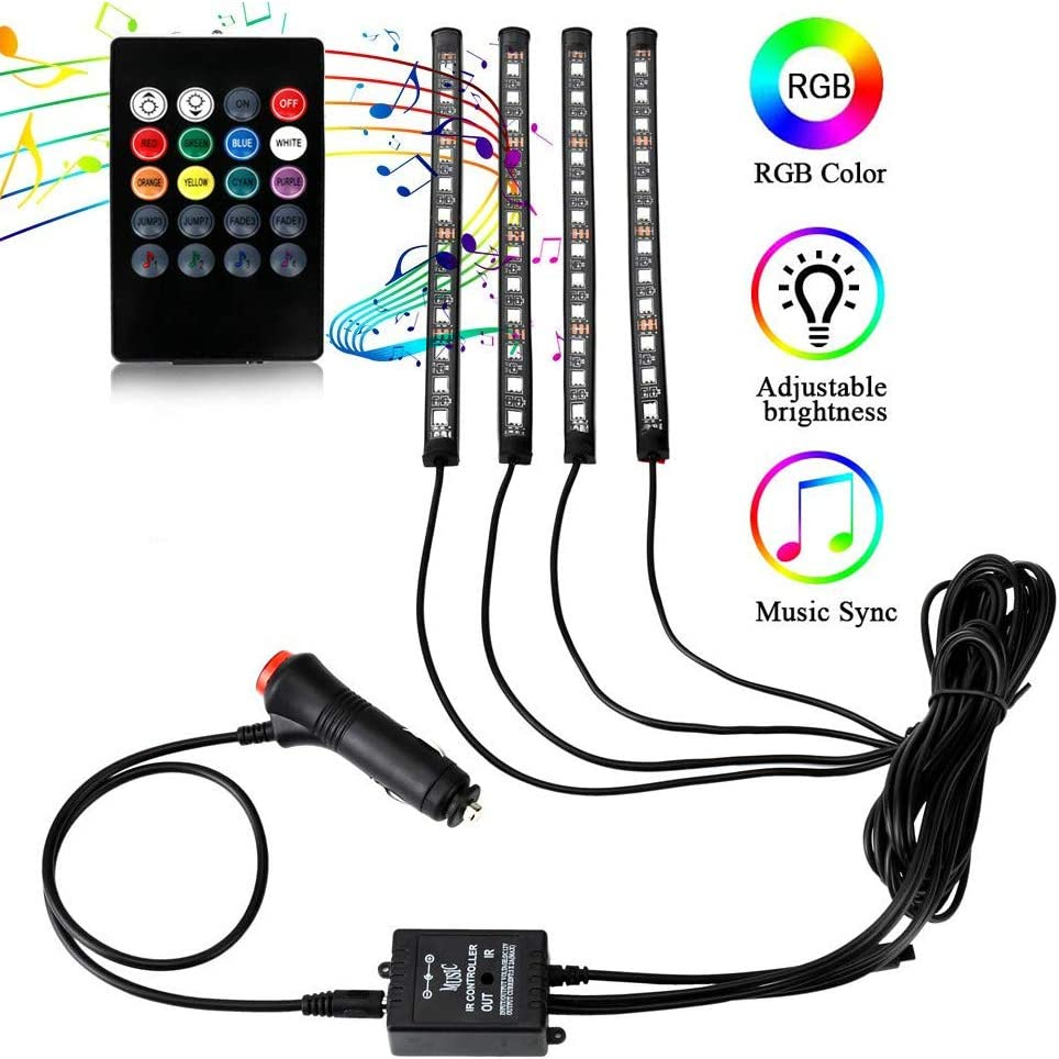 Interior Car Lights 4pcs 48 LED DC 12V Multicolor Music RGB Car Led Strip Lights Under Dash Atmosphere Lighting Kit with Sound Active Function and Remote Control, Car Charger Included