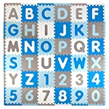 Tadpoles Soft EVA Foam 36 Piece ABC Playmat Set, Blue/Grey, 74x 74 (36 Sq Feet)