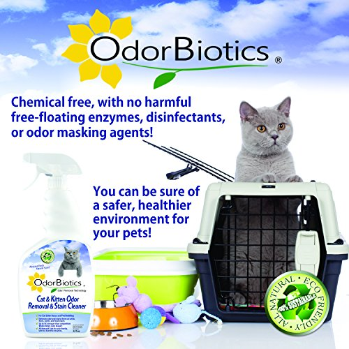 OdorBiotics Pet Stain-Odor Eliminator for Cat Litter Boxes, Small Animal Cages for Chinchilla, Ferret, Guinea Pig Bedding, Hamster and Bunny Rabbit Houses, Carpet Fabric Stains, 32 oz Spray Bottle by OdorBiotics (Image #4)