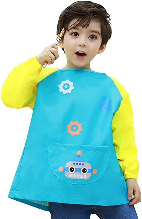 Waterproof Children/'s Art Smock Kids Art Painting Aprons Long Sleeve S//M